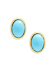 Kenneth Jay Lane Turquoise Cabochon Button Clip On Earrings Gold