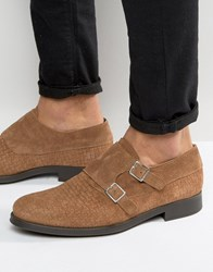 Selected Homme Oliver Woven Suede Monk Shoes Brown
