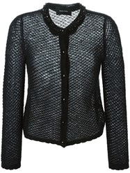 Simone Rocha Beaded Neck Lace Knit Cardigan Black