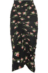 Preen By Thornton Bregazzi Shirley Ruched Floral Print Stretch Jersey Midi Skirt Black