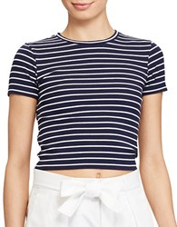 Polo Ralph Lauren Striped Cropped Jersey Tee Navy