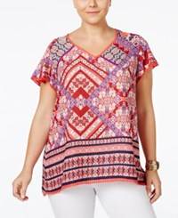 Eyeshadow Plus Size Patchwork Print Fringe Top Red Multi
