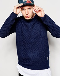 Bellfield Textured Knitted Crew Neck Jumper Navy