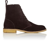 Bottega Veneta Men's Suede Side Zip Boots Dark Brown