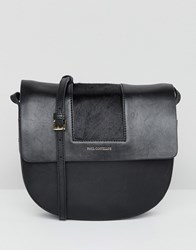 Paul Costelloe Real Leather Fold Over Saddle Cross Body Bag Black