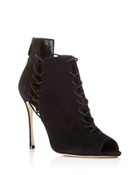Sergio Rossi Secret Open Toe Lace Up High Heel Booties