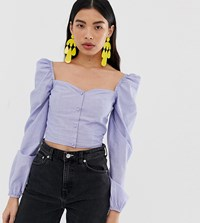 Stradivarius Square Neck Button Front Broderie Top Blue