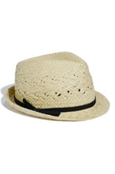 David And Young Straw Fedora Beige