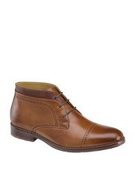 Johnston And Murphy Garner Cap Toe Leather Boots Tan