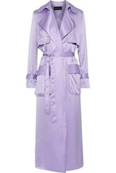 Michael Lo Sordo Woman Belted Silk Satin Trench Coat Lavender