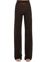 Courreges Gerbe Sheer Stretch Flared Pants Brown