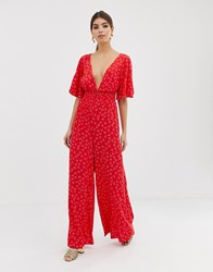 Finders Keepers Wideleg Ditsy Print Jumpsuit Red