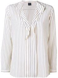 Aspesi Striped Ruffle Front Blouse Neutrals