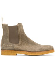 Common Projects Ankle Chelsea Boots Leather Suede Rubber Green