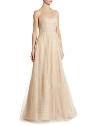 Rene Ruiz Illusion Beaded Tulle Gown Champagne