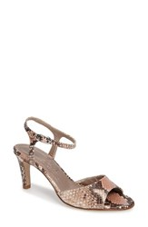 Agl Women's D'orsay Ankle Strap Sandal Nude Snake Print Leather