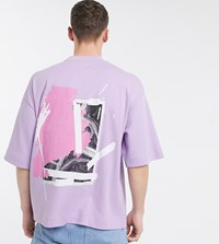 Noak Large Placement Print T Shirt In Lilac Navy