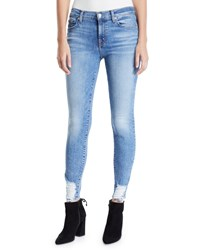 7 For All Mankind Mid Rise Ankle Skinny Jeans With Chewed Hem Light Blue
