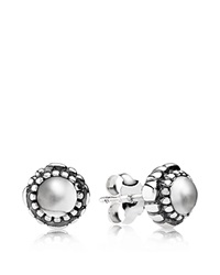 Pandora Design Pandora Earrings Sterling Silver And Rock Crystal Birthday Blooms April Stud Silver Clear