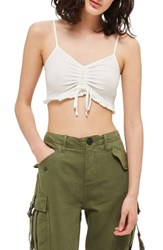Topshop Women's Ruched Ruffle Bralette Ivory