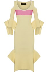 Roland Mouret Corely Cold Shoulder Ribbed Knit Midi Dress Pastel Yellow