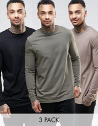 Asos Longline Long Sleeve T Shirts 3 Pack Save 23 Multi