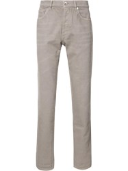 Brunello Cucinelli Logo Patch Slim Fit Jeans Brown