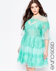 Asos Curve Sheer A Line Dress With Short Sleeves And Lace Mint