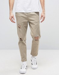 Asos Slim Cropped Chino Joggers With Knee Rips In Stone Stone