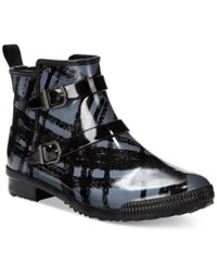 Cougar Royale Buckled Rain Booties Women's Shoes Black Aberdeen Plaid