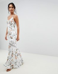 Hope And Ivy Mirrored Floral Printed Crochet Insert Maxi Dress Multi