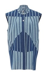 Christina Economou Striped Denim Vest