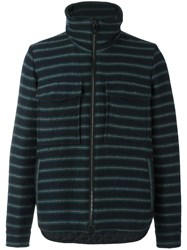 Andrea Pompilio Striped High Neck Cardigan Blue