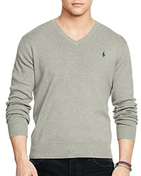 Polo Ralph Lauren Pima V Neck Sweater Fawn Grey Heather