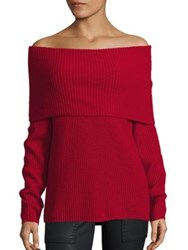 Joie Pirjo Wool And Cashmere Off The Shoulder Sweater Ruby