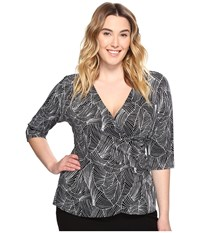 Kiyonna Camila Cinch Top Black Geo Print Women's Clothing Blue