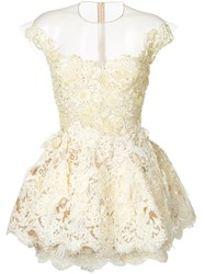 Nedret Taciroglu Couture Beaded Lace Mini Dress Yellow Orange