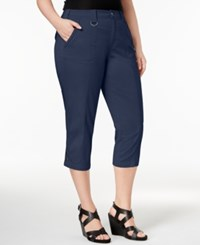 Style And Co Plus Size Capri Cargo Pants Only At Macy's Industrial Blue