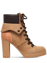 See By Chloe 100Mm Suede Lace Up Hiking Boots Camel