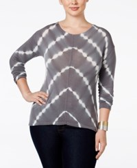 Inc International Concepts Plus Size Tie Dyed Handkerchief Hem Top Only At Macy's Grey Tie Dye