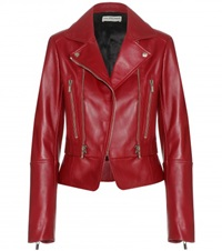 Balenciaga Leather Biker Jacket Red