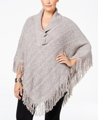 Karen Scott Plus Size Cable Knit Fringe Poncho Only At Macy's Gull Marble