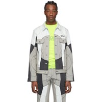 Off White Blue And Grey Denim Arrows Climber Jacket