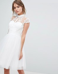 Chi Chi London Mini Tulle Skater Dress With Lace Collar White