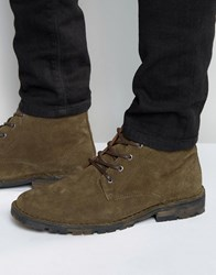 Asos Chukka Boots In Khaki Suede With Camo Sole Khaki Green