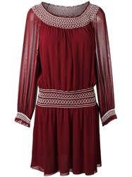 Tory Burch Smock Detail Dress Red