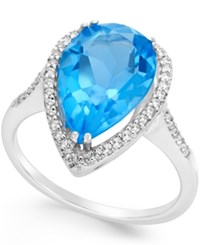 Macy's Blue And White Topaz Halo Ring 5 Ct. T.W. In Sterling Silver