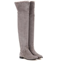 Jimmy Choo Marshall Suede Over The Knee Boots Grey
