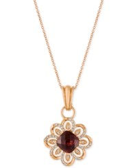 Le Vian Chocolatier Pomegranate Garnet 2 1 4 Ct. T.W. And Diamond 1 4 Ct. T.W. Pendant Necklace In 14K Rose Gold Red