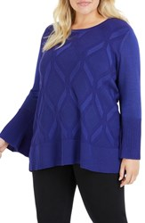 Foxcroft Plus Size Dion Diamond Pattern Sweater Regal Purple